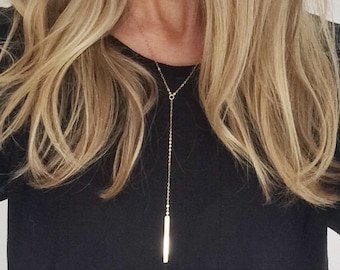 Gold Filled and Sterling Silver Vertical Bar necklace - on gold and silver filled chain