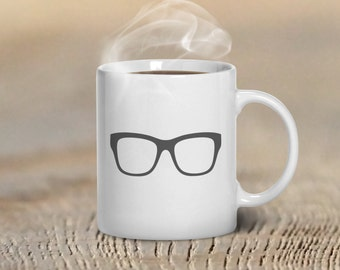 Coffee Mug Glasses Hipster Custom Mug Design, Mugs for Him, Gift for Husband, Father, Man, Custom Colors, Hipster Glasses, Hipster Mug Art