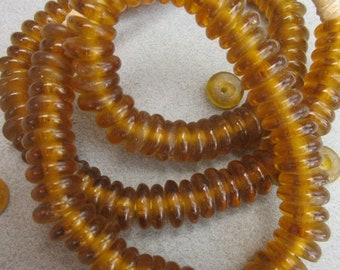 Gold Ghana Glass Disk Beads (11x4mm) [68320]