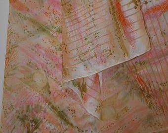 Vintage VERA Silk Scarf - Spring Design - White Pink Green - Ladybug - 13 x 42