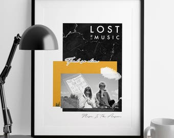 Lost In Music Collage Print