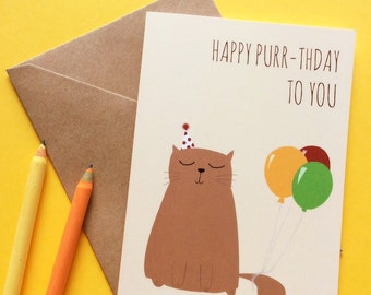 Birthday card Cat Happy Purr-thday to you, cat with balloons