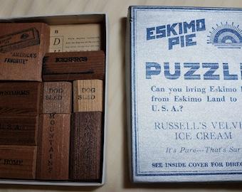 Vintage Eskimo Pie sliding wood block puzzle, ice cream, dairy advertising, Iowa