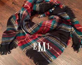 Black Tartan Plaid Blanket Scarf, monogrammed blanket scarf, monogram blanket scarf, plaid scarf, blanket scarf, blanket scarf with monogram