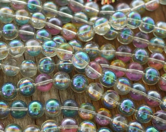 Green and Pink Mystic Bubbles: 12mm Round Glass Beads, 19 Clear Beads, Crystal Glass, Purple Grey Sparkles, Jewelry Making Supplies