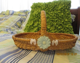 Basket Flat Flower Medium Wicker With Blue and White Accents  UpCycled and Cottage Chic Home Decor Gift Storage