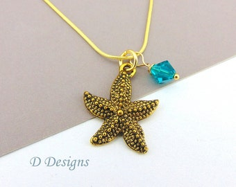 Starfish Necklace, Tarnish Resistant Gold Plated Starfish Birthstone Necklace