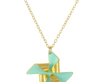 Gold and Mint Pinwheel Necklace // Gold Plated Origami Windmill Pendant on Dainty Gold Chain