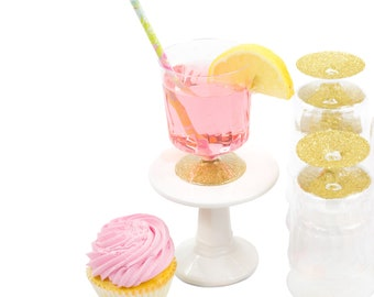 9pc Gold Glitter Cup, Disposable Cup, Bridal Shower Drinks, Baby Shower Drinks, Plastic Cup, Table Setting, Buffet Decor, Paper Cup Supplies