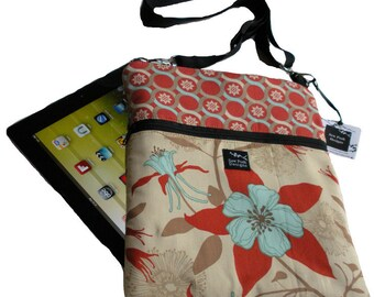 Red Cream Beige Aqua Flowers Dewberry Fabric iPad Kindle Nook Color E Reader Passport Travel Messenger Bag Sling Washable