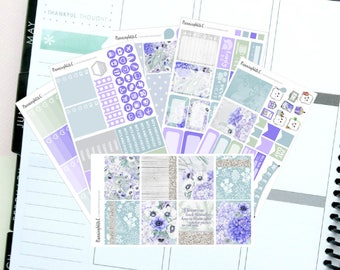 """Floral/Blue """"Winter Flowers""""  Themed Planner Stickers for Erin Condren, Kikki K, Filofax, Happy Planner, Websters Pages"""