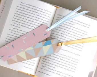 Set of 2 Pastel Geometric Pattern Paper Bookmark with Satin Ribbon