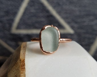 Beach Glass and Electroformed Copper Ring Size 6.25