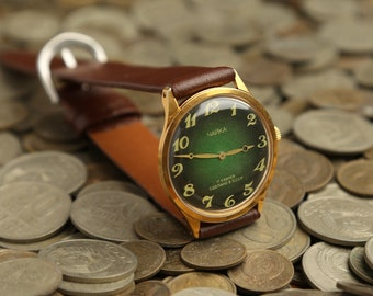 Soviet gold-plated watch CHAYKA (Seagull) AU 10, rare vintage women's watch, mechanical women's watch Chaika, USSR gold-plared women's watch