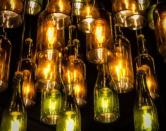 Abstract Photography, Allagash Brewery, Maine, Beer Bottles, Bottle Lights, Abstract Photo Print