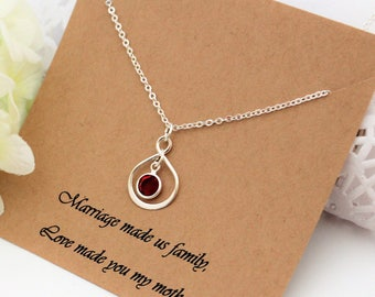 Step Mother Gift Step Mom Gift from Son Gift from Daughter to Step Mother of Groom Step Mom Of Bride Birthstone Silver Infinity Necklace