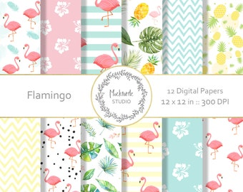 Flamingo digital paper - Tropical clipart - Scrapbook paper, Flamingo Digital Paper, Tropical Digital Paper, Commercial use