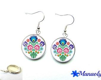 Polish folk pattern embroidery 2704 glass cabochons, Flower Earrings