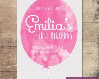 Printable Watercolour Balloon Birthday Invitation / Customisable Digital File / JPG or PDF /Pink