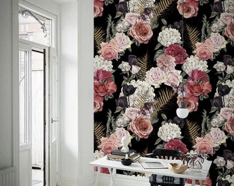 Dark Garden Wallpaper - Roses Removable Wallpaper - Wall Decor - Sefl Adhesibe - Wall Covering - Meadow - Repositionable - Mural  #194