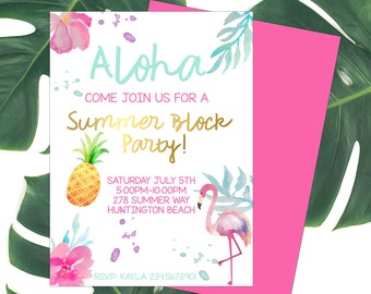 Summer Invitation-Printable-Hawaiian Luau-Aloha-party-any age-birthday-DIGITAL FILE-PRINTABLE