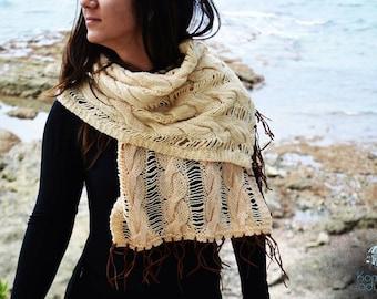Handmade Woolen beige shawl with fringes,Handknit Woolen beige wrap with plait, Handmade Woolen beige scarf with plait, Handknit beige scarf