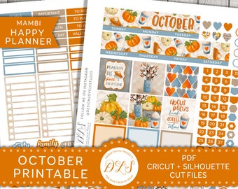 October Happy Planner, Happy Planner October Monthly Kit, October Monthly Planner, Halloween Planner Stickers, October Printable, HPMV133