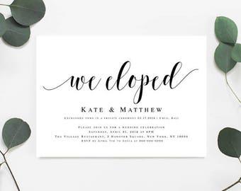 Elopement reception invitation template Elopement invitations Post wedding reception invitation We eloped Elegant wedding invites #vm31