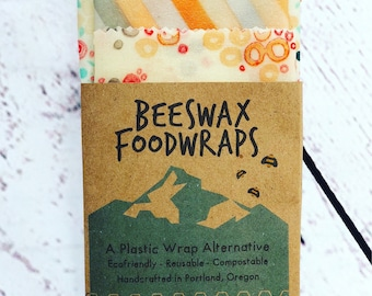 Beeswax Food Wraps, Made in Oregon- Plastic Free Food Wrap