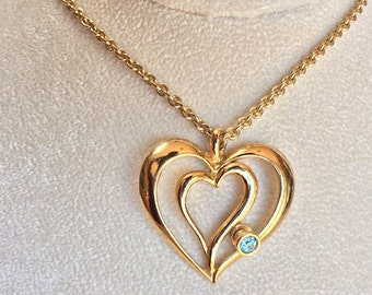 AVON Heart Necklace - Sliding Faceted Blue Rhinestone Signed Gold Tone Vintage