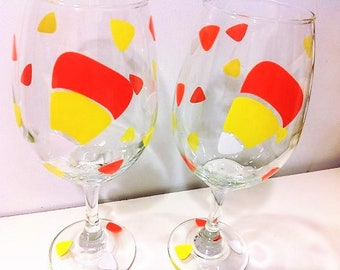 Candy Corn Wine Glass, Holiday Table Decor, Fall Wedding Favor, Candy Corn, Halloween Decor, Engagement Party Decor, Candy Corn Gift