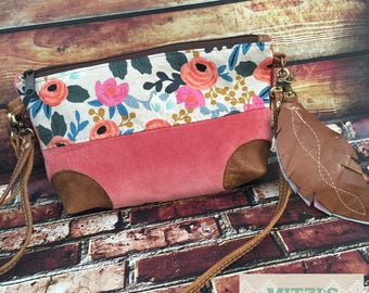 SHIPS TODAY Floral, Vintage Velvet and Leather Crossbody Bag w/ Leather Feather