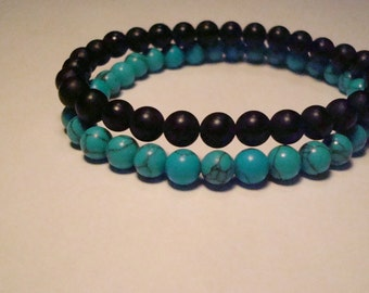 Mala crystals Turquoise and Onyx crystal gemstone stacking bracelets