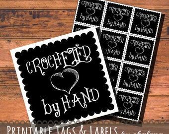 Printable PDF Tags - Square Chalkboard Crocheted by Hand Labels