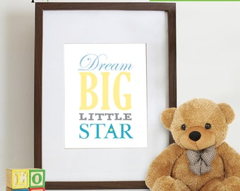 Elephant Print, Nursery Print, Elephant family print, Safari print, Twinkle star, Dream Big Quote, Item 004