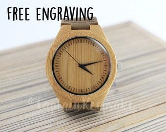 Christmas Gifts, Engraved Mens Watch, Personalized Wood Watch, Custom Watch, Groomsmen Watch, Groomsmen Gift, Anniversary Gift WW1