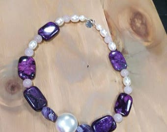 Amethyst necklace, rose quartz and pearl shell