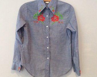 1960s/70s Chambray Embroidered Shirt