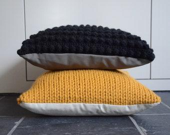 Knitted pillowcover Ocher