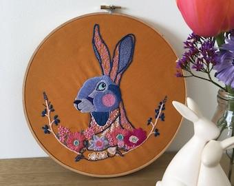 Floral Hare Hoop Art