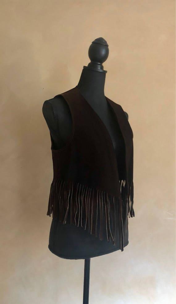 Vest Fringed Brown Vintage 1970's