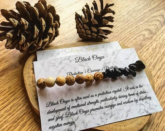 Black Onyx & Picture Jasper Bracelet, elasticated bracelet, black onyx, picture jasper