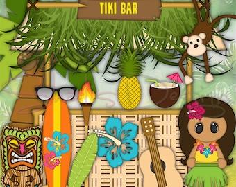 Tiki Bar Clip Art Tiki Bar Clip Art Illustrations Instant Download