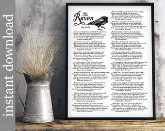 The Raven Printable, Raven entire poem, Halloween printable, Edgar Allan Poe, Halloween decor, Raven Download, library art, literature print