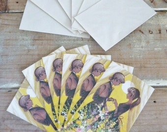 6 Vintage Engagement party Cards, unused vintage cards, kitschy set 1981