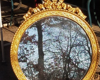 Vintage Round Mirror Gold Gilt Wood & Gesso Bow and Flowing Ribbon, Wall Mirror
