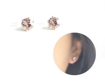 Invisible Clip On Earrings. Timeless Vintage Rose Pink Swarovski Crystal Diamond Cut Stud Earrings 6mm. Simple Non Pierced Earrings