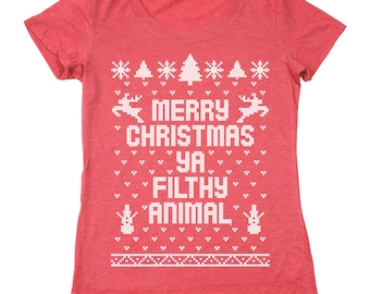 Merry Christmas Ya Filthy Animal Ugly Sweater Contest Retro Cute Women's Relaxed Fit Tri-Blend T-Shirt DB0002