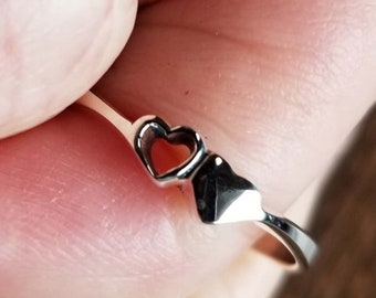 Solid Sterling Silver 925 Cute Double Heart Ring Size 8