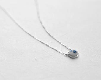 Blue polka ceramic necklace, Ceramic necklace Everyday necklace Minimalist necklace Simple necklace Chic necklace Birthday gift-boohua